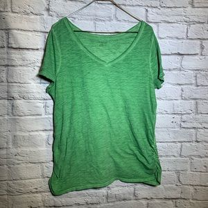 Lane Bryant 0X 14/16W green v neck shirt 2409